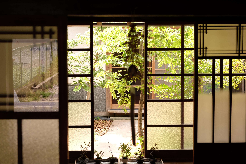 風鈴ごしの中庭